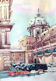 Watercolor painting of Rome Italy famous landmark, old italian i Stock Images