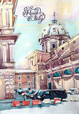 Watercolor painting of Rome Italy famous landmark, old italian i Stock Photography