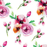 Watercolor painting with Rose flowers.  Seamless Stock Image
