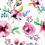 Watercolor painting with Rose flowers. Seamless Stock Photo