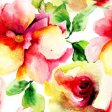 Watercolor painting with Rose flowers Stock Images