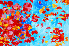Watercolor painting with rose petals, illustration, background,w Stock Photo