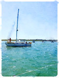 Watercolor painting of a sailing boat going out to sea with some. A digital watercolor painting of a sailing boat going out to sea with someone putting foresail Royalty Free Stock Image