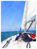 Watercolor painting of a sailing boat in the sea with its sails stock photos