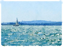 Watercolor painting of a sailing boat in the sea with sails up a. A digital watercolor painting of a sailing boat in the sea with its sails up and land in the Royalty Free Stock Photos