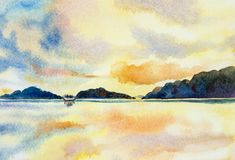 Watercolor painting seascape colorful sky royalty free illustration