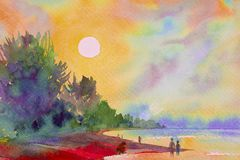 Watercolor painting seascape colorful of sun and the sand. Watercolor painting seascape colorful of sun and the sand with tourists walking the beach between the stock illustration