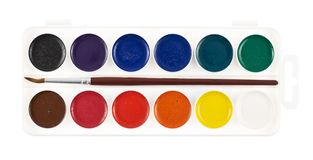 Watercolor painting set, isolated Royalty Free Stock Image