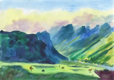 Watercolor Painting. Shepherds in the mountains. Cloudy evening in a mountain valley. Colorful landscape. Horses and sheep Stock Images