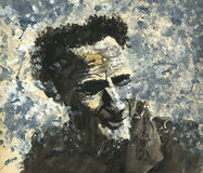 Watercolor painting of a smiling man. A water color painting of a smiling old man Stock Photos
