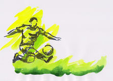 Watercolor painting of a soccer player with ball Royalty Free Stock Photos