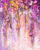 Watercolor painting. Spring purple flowers Wisteria stock photo