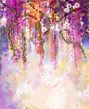 Watercolor painting. Spring purple flowers Wisteria Royalty Free Stock Photos