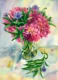 Watercolor bouquet of chrysanthemums. royalty free stock images