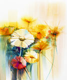 Watercolor painting Still life of yellow, pink and red gerbera Stock Image