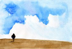 Watercolor painting Before a storm. Landscape with storm scene painted with watercolours Stock Photography