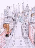 Watercolor painting of street view of New York, modern Artwork, American city, illustration New York.
