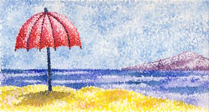 Red umbrella royalty free illustration