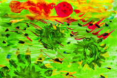 Watercolor painting sunflowers green field sunset Royalty Free Stock Photography