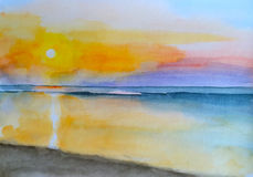 Watercolor painting sunset on the beach hand-painted landscape