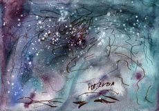 Watercolor painting texture, universe, glitter, space vector illustration