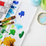 Watercolor painting tools Royalty Free Stock Photo