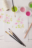 Watercolor painting tools Stock Photos