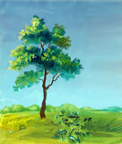 Watercolor painting of a tree vector illustration