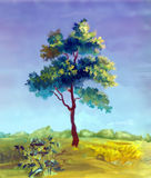 Watercolor painting of a tree royalty free illustration
