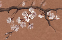 Tree in blossom. Watercolor painting of a tree in blossom. Asian style painting Royalty Free Stock Image