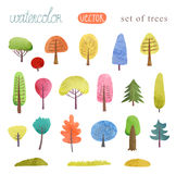 Watercolor painting trees,  file, a set of trees. Watercolor painting trees,  file Stock Images