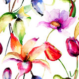 Watercolor painting of Tulips and Lily flowers Royalty Free Stock Photos