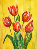 Watercolor painting, tulips. Red tulips over yellow background, watercolor painting Stock Photos