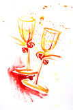 Watercolor painting of two wineglasses Stock Photography