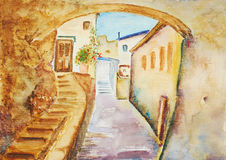 Watercolor painting, urban landscape Royalty Free Stock Photo