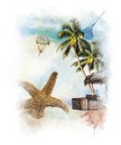 Watercolor Painting Of Vacation Theme Royalty Free Stock Photo