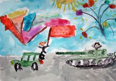 Victory day in Russia - painted by child. A watercolor painting of Victory day with tanks and other military vehicles on parade. With flags and fireworks. Made Stock Image