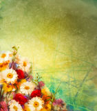 Watercolor painting vintage flowers background Stock Photos