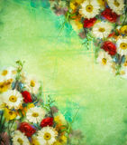 Watercolor painting vintage flowers background Stock Photography