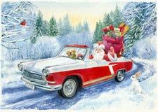 Watercolor painting. Vintage hand-drawn Christmas postcard. Stock Photo