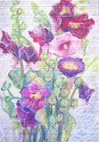 Watercolor painting of violet mallow flowers. Still-life. Stock Image