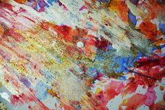Paint gold red orange pink pastel forms, abstract pastel hues. Watercolor painting violet red orange yellow white blue golden forms and paint spots in pastel stock photos