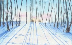 Watercolor painting of a winter landscape. Royalty Free Stock Images