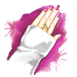 Watercolor painting: woman hand with manicure and gold ring Royalty Free Stock Image