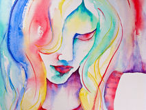Watercolor Painting Of Woman Looking Down Royalty Free Stock Photos