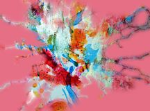 Golden orange pink pastel forms, abstract pastel hues. Watercolor painting yellow green blue golden forms and paint spots in pastel hues are placed on abstract stock photography