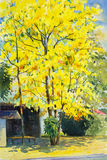 Watercolor painting yellow, orange color of golden shower tree Royalty Free Stock Image