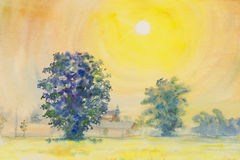 Watercolor painting yellow, orange color of sunrise  in sky and cloud background Royalty Free Stock Image