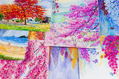 Watercolor paintings art work  by a photography including memories. Stock Photos