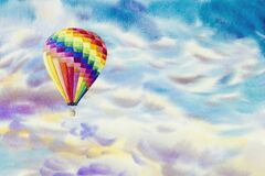 Watercolor paintings hot air balloons on cloud sky